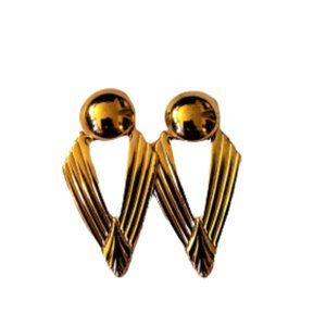NWT Retro style (80s) geometric gold tone earrings
